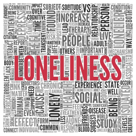 depress: Close up Red LONELINESS Text at the Center of Word Tag Cloud on White Background.