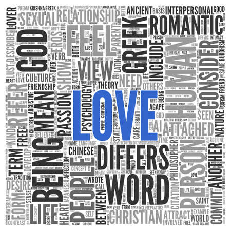 differs: Close up Blue LOVE Text at the Center of Word Tag Cloud on White Background.