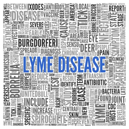 tag cloud: Close up Blue LYME DISEASE Text at the Center of Word Tag Cloud on White Background.