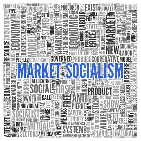 socialism: Close up Blue MARKET SOCIALISM Text at the Center of Word Tag Cloud on White Background.
