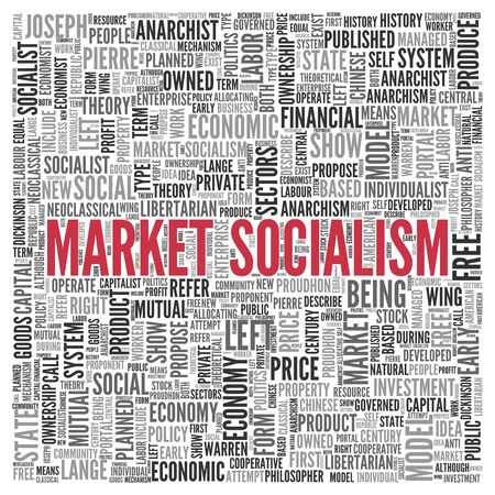 mutual: Close up Red MARKET SOCIALISM Text at the Center of Word Tag Cloud on White Background. Stock Photo