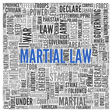 martial law: Close up Blue MARTIAL LAW Text at the Center of Word Tag Cloud on White Background. Stock Photo