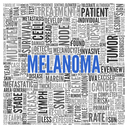 melanoma: Close up Blue MELANOMA Text at the Center of Word Tag Cloud on White Background. Stock Photo