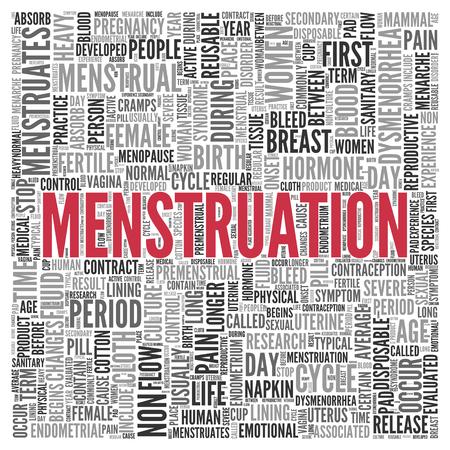 menstruacion: Cierre de rojo MENSTRUACI�N texto en el Tag Centro de nube de la palabra en el fondo blanco. Foto de archivo