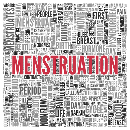menstrual: Close up Red MENSTRUATION Text at the Center of Word Tag Cloud on White Background.