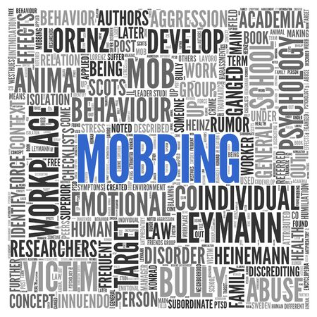 mobbing: Close up Blue MOBBING Text at the Center of Word Tag Cloud on White Background.