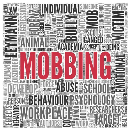 mobbing: Close up Red MOBBING Text at the Center of Word Tag Cloud on White Background. Stock Photo