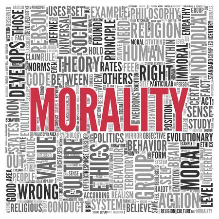 valores morales: Cierre de rojo texto MORALIDAD en el Tag Centro de nube de la palabra en el fondo blanco.