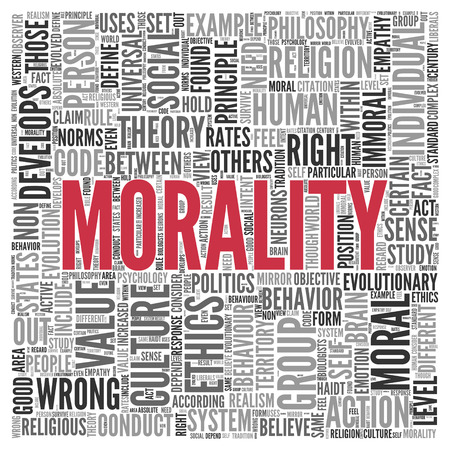 tag cloud: Close up Red MORALITY Text at the Center of Word Tag Cloud on White Background.
