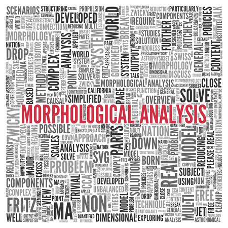 developed: Close up Red MORPHOLOGICAL ANALYSIS Text at the Center of Word Tag Cloud on White Background. Stock Photo