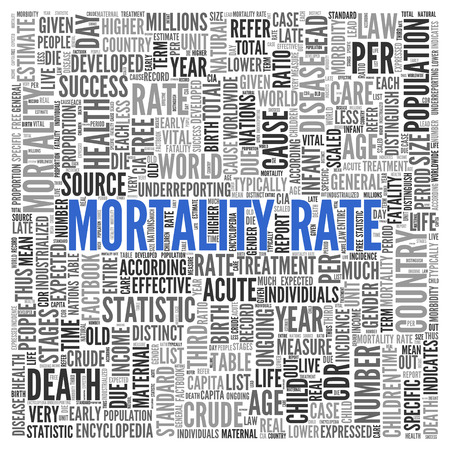 mortality: Close up Blue MORTALITY RATE Text at the Center of Word Tag Cloud on White Background.
