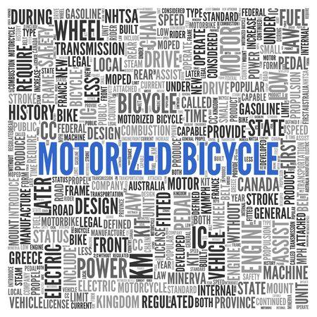 MOTORIZADO: Cierre de azul bicicleta motorizada Texto en el Tag Centro de nube de la palabra en el fondo blanco.