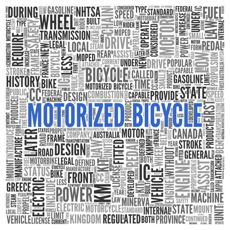 ic: Close up Blue MOTORIZED BICYCLE Text at the Center of Word Tag Cloud on White Background.