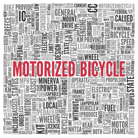 ic: Close up Red MOTORIZED BICYCLE Text at the Center of Word Tag Cloud on White Background. Stock Photo