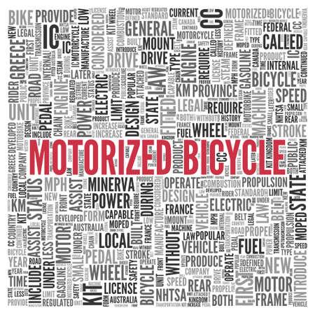 motorizado: Close up rojo de bicicleta motorizada Texto en el Tag Centro de nube de la palabra en el fondo blanco.