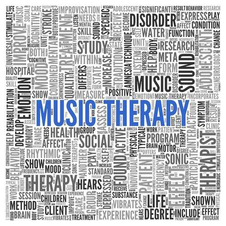 music therapy: Cierre de azul MUSICOTERAPIA Texto en el Tag Centro de nube de la palabra en el fondo blanco.