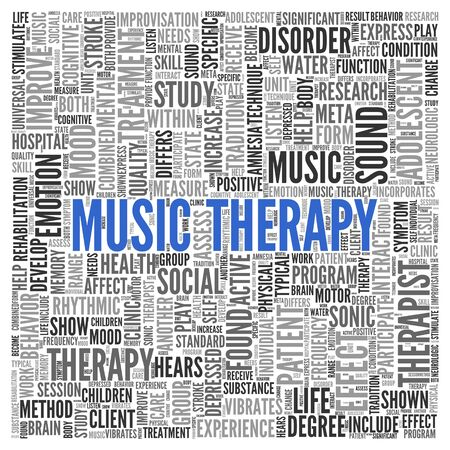 Close up Blue MUSIC THERAPY Text at the Center of Word Tag Cloud on White Background.