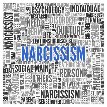 narcissist: Close up Blue NARCISSISM Text at the Center of Word Tag Cloud on White Background.