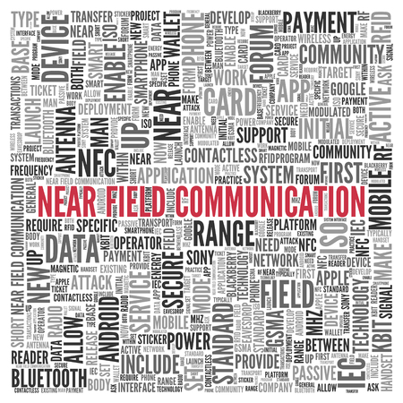 near: Close up Red NEAR FIELD COMMUNICATION Text at the Center of Word Tag Cloud on White Background. Stock Photo