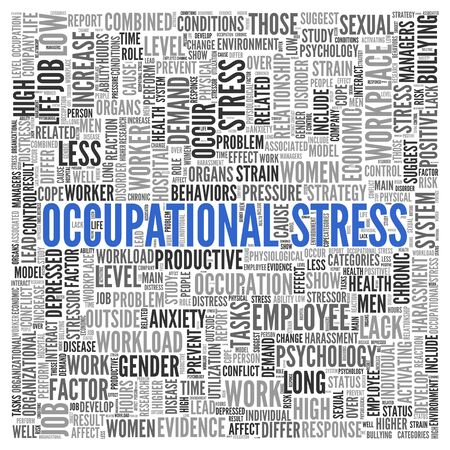 occupational: Close up Blue OCCUPATIONAL STRESS Text at the Center of Word Tag Cloud on White Background.