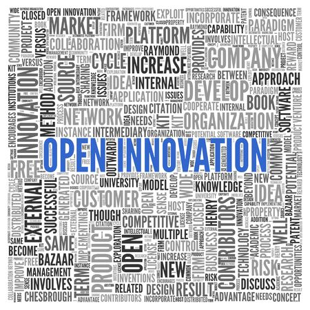 contributors: Close up Blue OPEN INNOVATION Text at the Center of Word Tag Cloud on White Background.