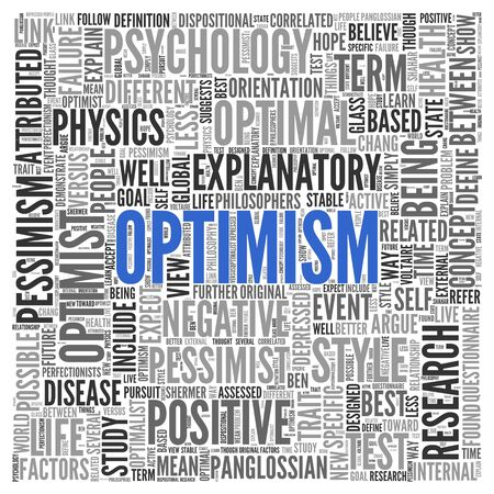 optimal: Close up Blue OPTIMISM Text at the Center of Word Tag Cloud on White Background. Stock Photo