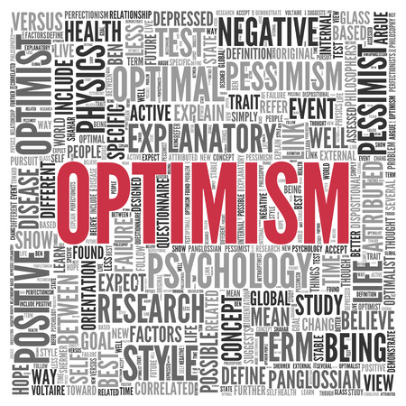optimism: Close up Red OPTIMISM Text at the Center of Word Tag Cloud on White Background.
