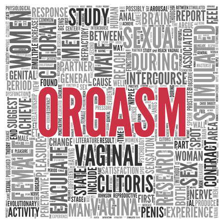 man and woman sex: Close up Red ORGASM Text at the Center of Word Tag Cloud on White Background. Stock Photo