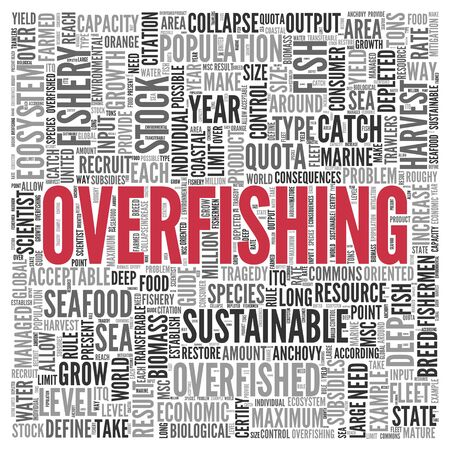 overfishing: Close up Red OVERFISHING Text at the Center of Word Tag Cloud on White Background.