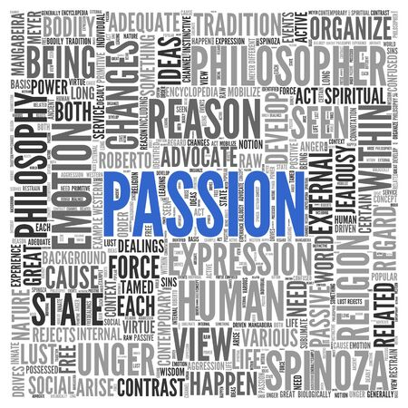 philosopher: Close up Blue PASSION Text at the Center of Word Tag Cloud on White Background. Stock Photo