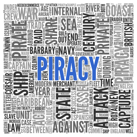 piracy: Close up Blue PIRACY Text at the Center of Word Tag Cloud on White Background. Stock Photo