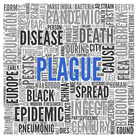 plague: Close up Blue PLAGUE Text at the Center of Word Tag Cloud on White Background. Stock Photo