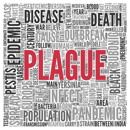 infect: Close up Red PLAGUE Text at the Center of Word Tag Cloud on White Background. Stock Photo