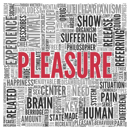 key words art: Close up Red PLEASURE Text at the Center of Word Tag Cloud on White Background.
