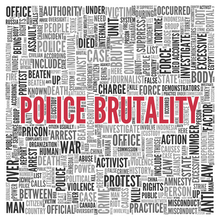 under arrest: Close up Red POLICE BRUTALITY Text at the Center of Word Tag Cloud on White Background. Stock Photo