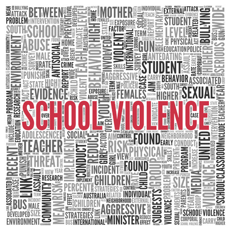 intervention: Close up Red SCHOOL VIOLENCE Text at the Center of Word Tag Cloud on White Background.