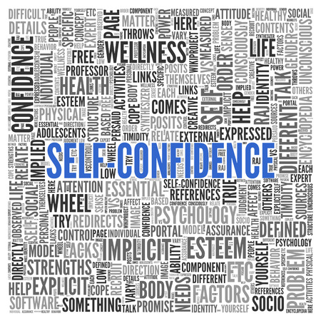 implicit: Close up Blue SELF CONFIDENCE Text at the Center of Word Tag Cloud on White Background.