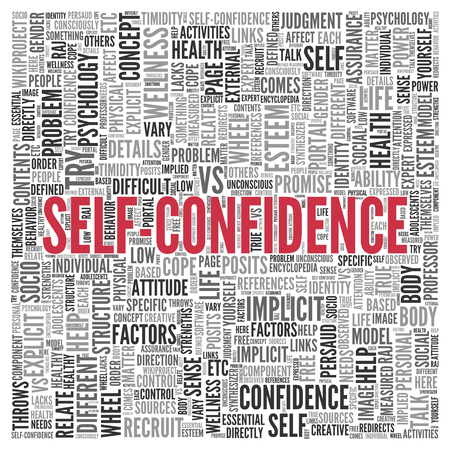 explicit: Close up Red SELF CONFIDENCE Text at the Center of Word Tag Cloud on White Background.