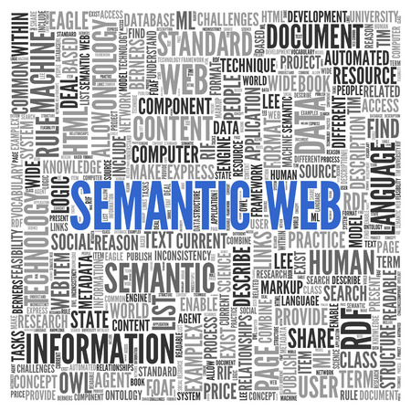 ontology: Close up Blue SEMANTIC WEB Text at the Center of Word Tag Cloud on White Background. Stock Photo