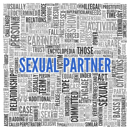 Close up Blue SEXUAL PARTNER Text at the Center of Word Tag Cloud on White Background.