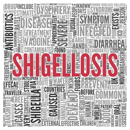dysentery: Close up Red SHIGELLOSIS Text at the Center of Word Tag Cloud on White Background. Stock Photo