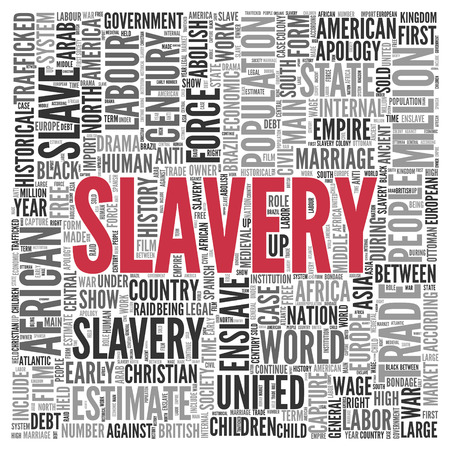 enslave: Close up Red SLAVERY Text at the Center of Word Tag Cloud on White Background.