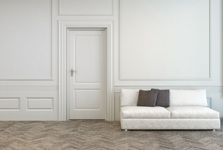 Elegant White Couch with Gray Pillows Near Single White Door in an Empty Architectural White Room. photo