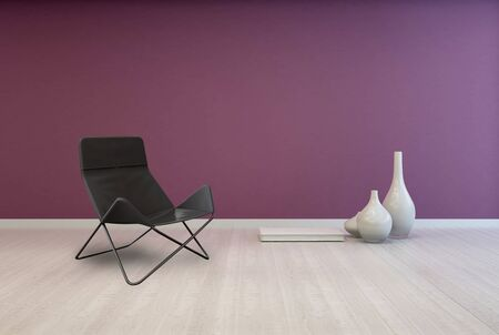 uncarpeted: Folding Black Lounge Chair and White Elegant Vases on Empty Room with Red Violet Wall and Light Brown Flooring.