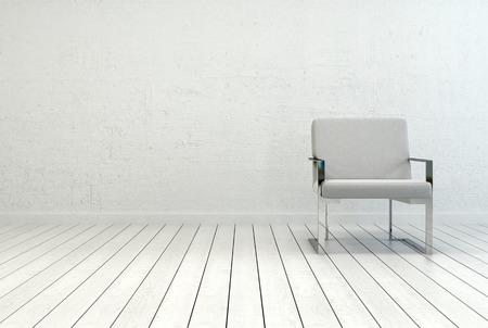 cadeira: Conceitual elegante cadeira branca Individual em um quarto vazio com parede branca e Pisos. Capturado com espaço da cópia no lado esquerdo. Imagens