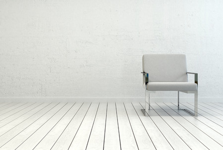 Konzeptionelle Einzel Elegante weiße Stuhl in einem leeren Raum mit weißen Wand-und Bodenbelag. Mit Kopie Platz auf der linken Seite eingefangen.