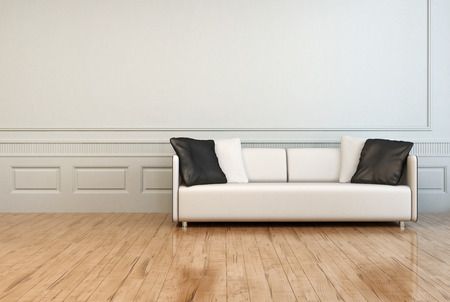 austere: White Elegant Couch with White and Gray Pillows in an Empty Architectural Room with White Wall and Wooden Flooring. Stock Photo