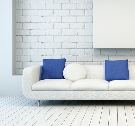 White Couch with White and Blue Pillows at Architectural Living Room with White Wall and Flooring.
