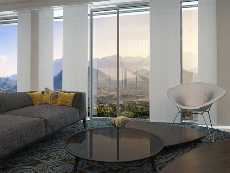 view of a spacious living room: Architectural Modern Living Room Design with Transparent Glass Windows Styled with Round Glass Table and Relaxing Seats on Artistic Carpet with Abstract Design. Stock Photo