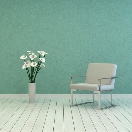 uncarpeted: Elegant White Vase, with Fresh White Flowers, and Single White Chair on Empty Room with Green Wall and White Flooring. Captured with Copy Space Above. Stock Photo